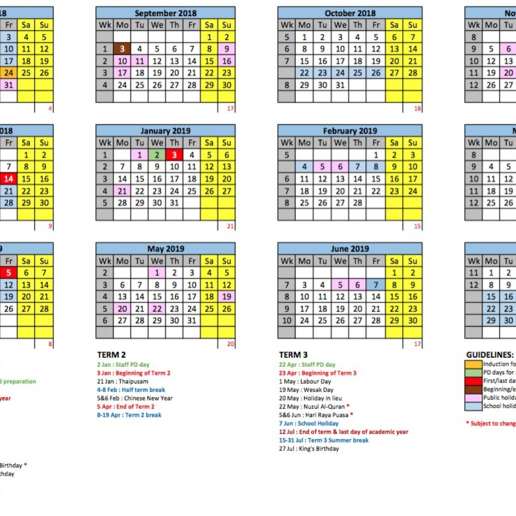 Next Year Calendar 2019 Malaysia With Academic GEMS International School Metropark
