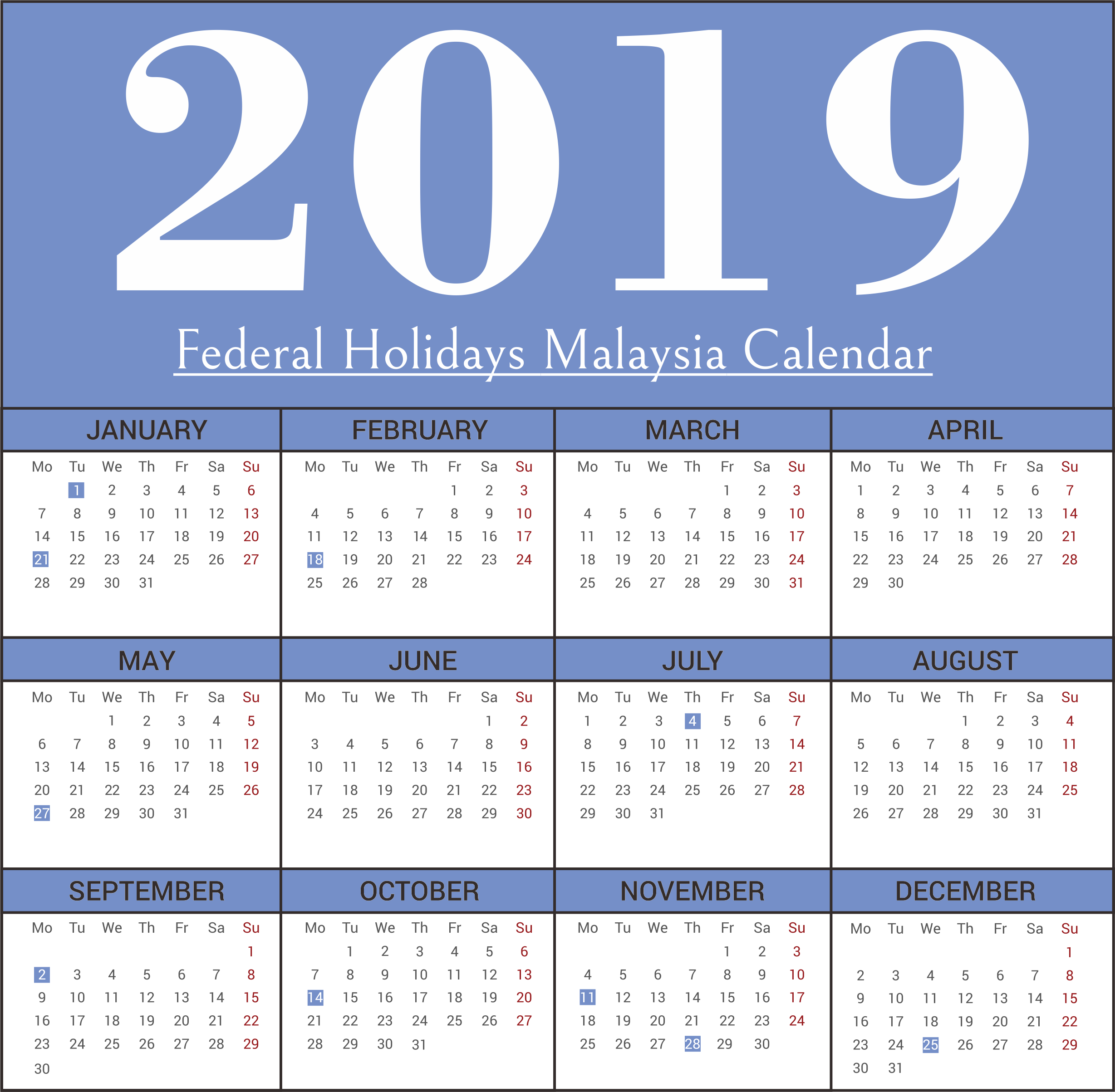Next Year Calendar 2019 Malaysia With Free Federal Holidays Templates April 2018