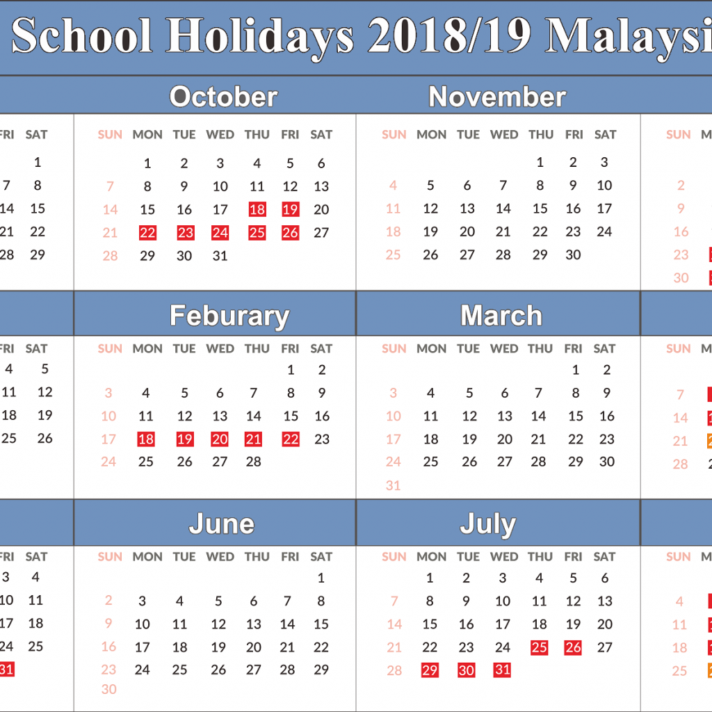 Next Year Calendar 2019 Malaysia With Free Yearly Printable Blank School Holidays