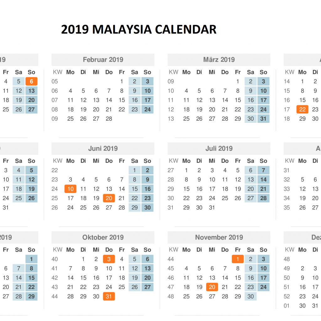 Next Year Calendar 2019 Malaysia With Template PDF Excel Word Download