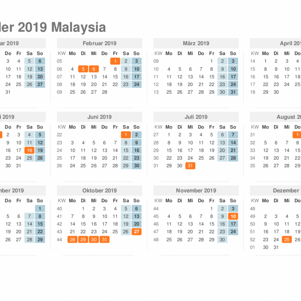 Next Year Calendar 2019 Malaysia With Yearly Printable Holidays August
