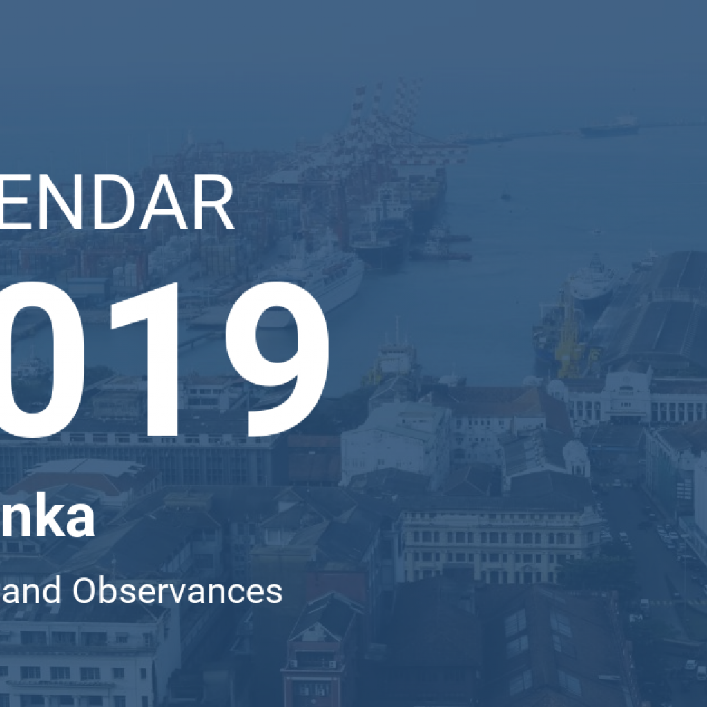 Next Year Calendar 2019 Sri Lanka With