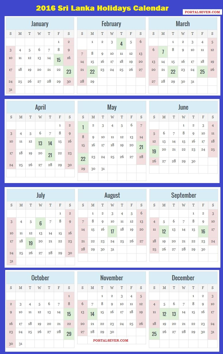Next Year Calendar 2019 Sri Lanka With 2018 Holidays Printable Free