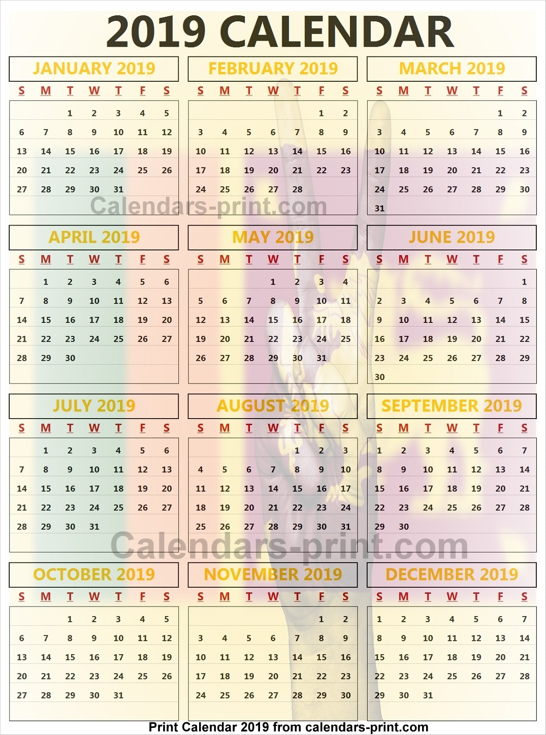 Next Year Calendar 2019 Sri Lanka With To Print Free Download Blank PDF Template