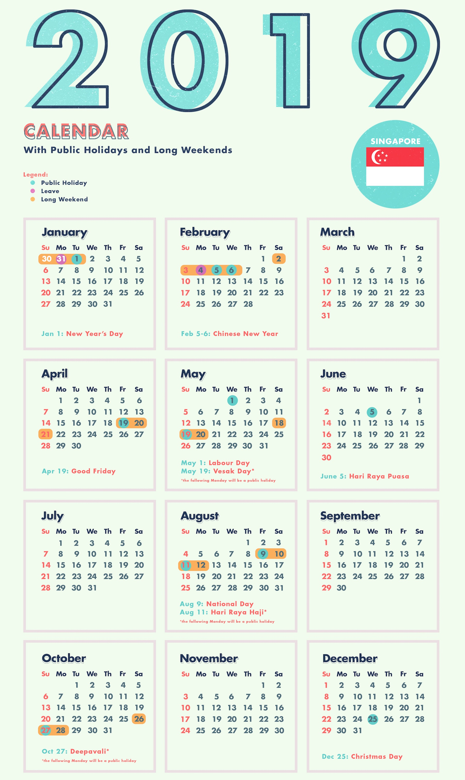 Next Year Calendar 2019 Sri Lanka With Yearly Template Singapore Holidays Free Public