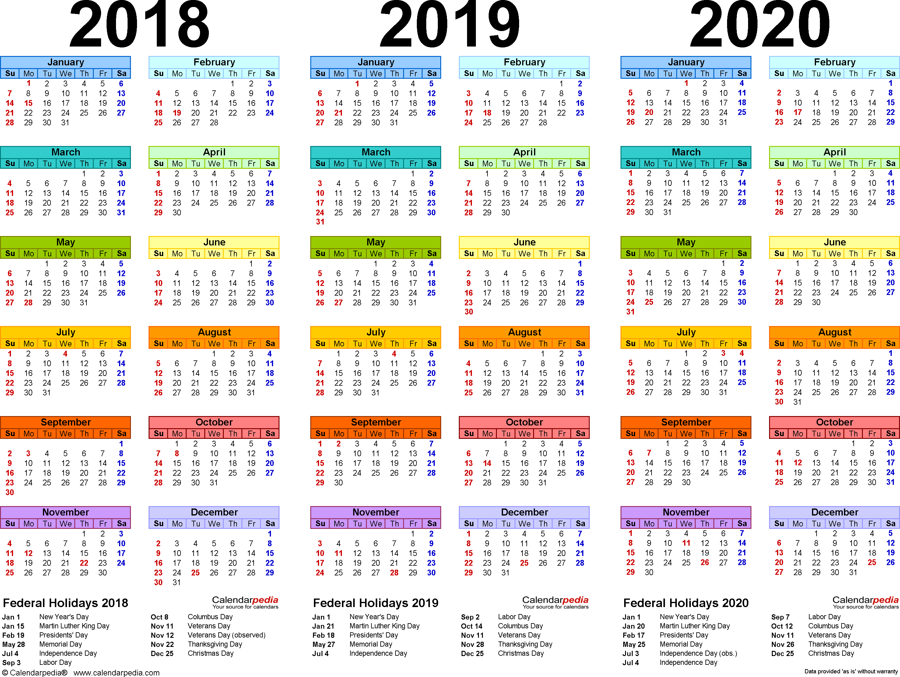 Next Year Calendar 2019 With Holidays 2018 2020 4 Three Printable PDF Calendars