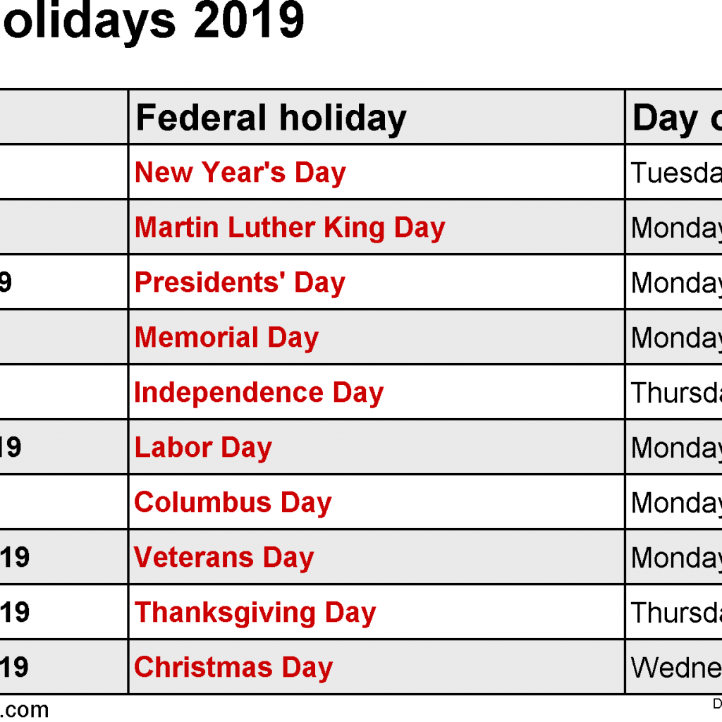 Next Year Calendar 2019 With Holidays Federal