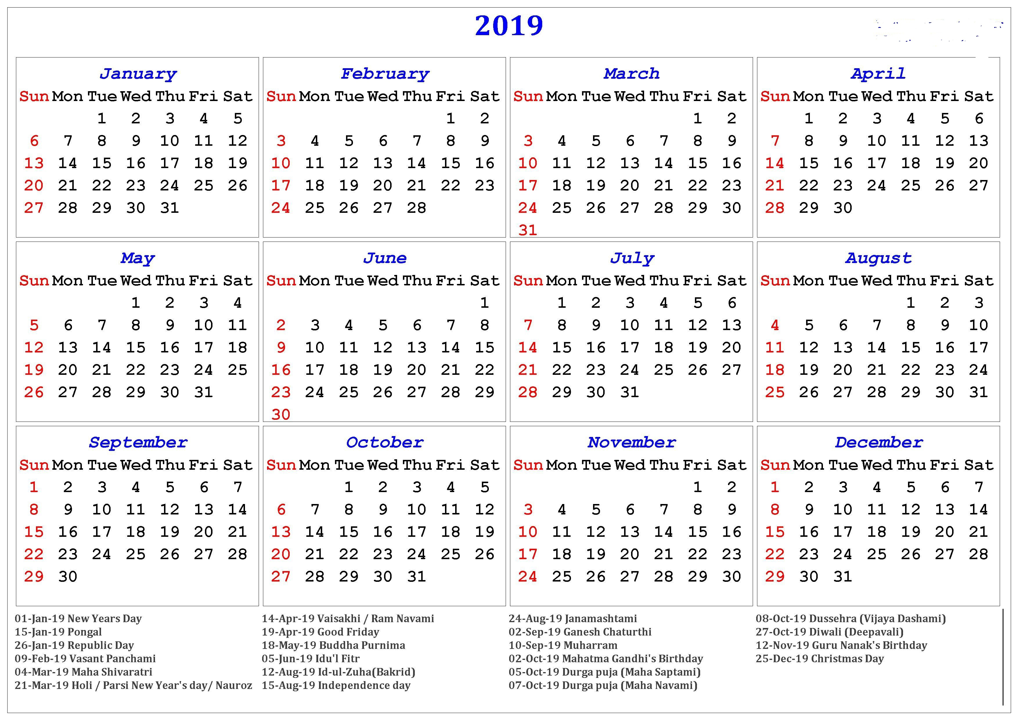 Next Year Calendar 2019 With Holidays Free Download Yearly Template Turkey