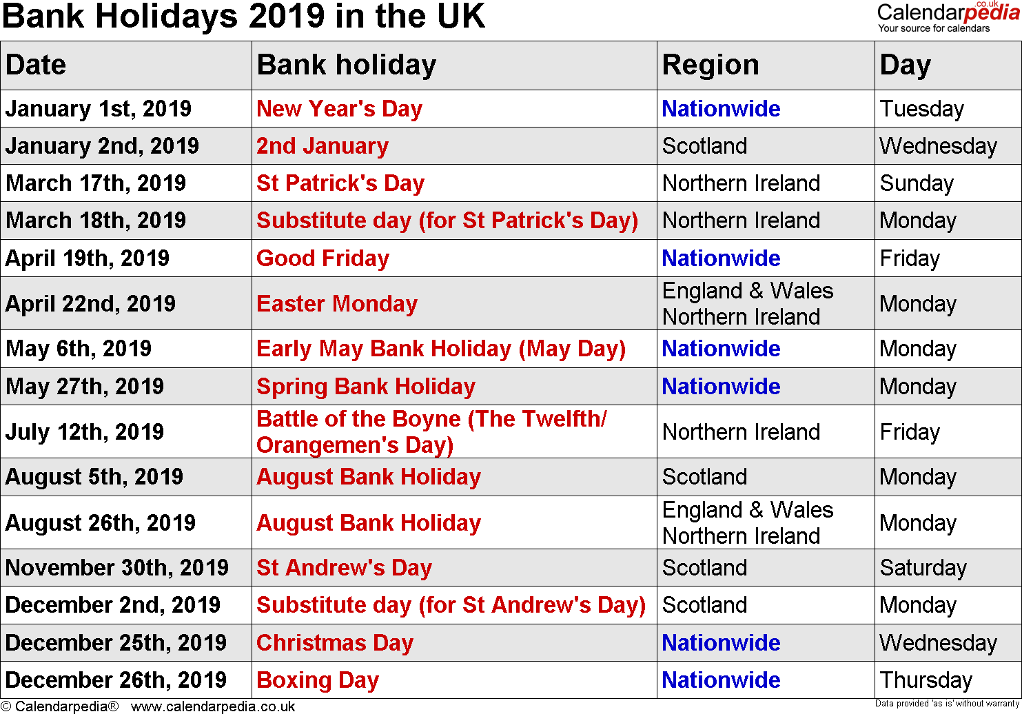 Next Year Calendar 2019 With Holidays Free Printable Yearly Public UK