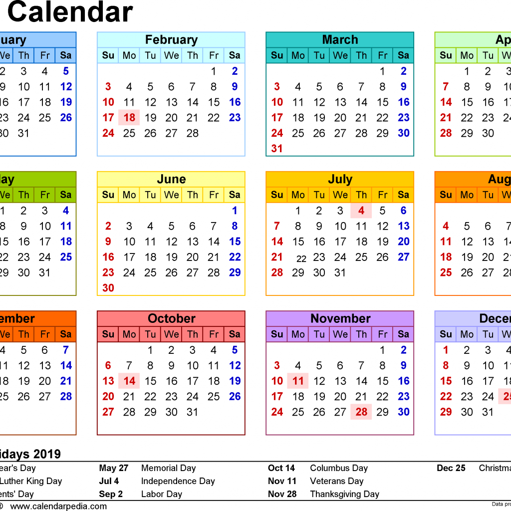 Next Year Calendar 2019 With Holidays Get Free Pdf Yearly Template SA May