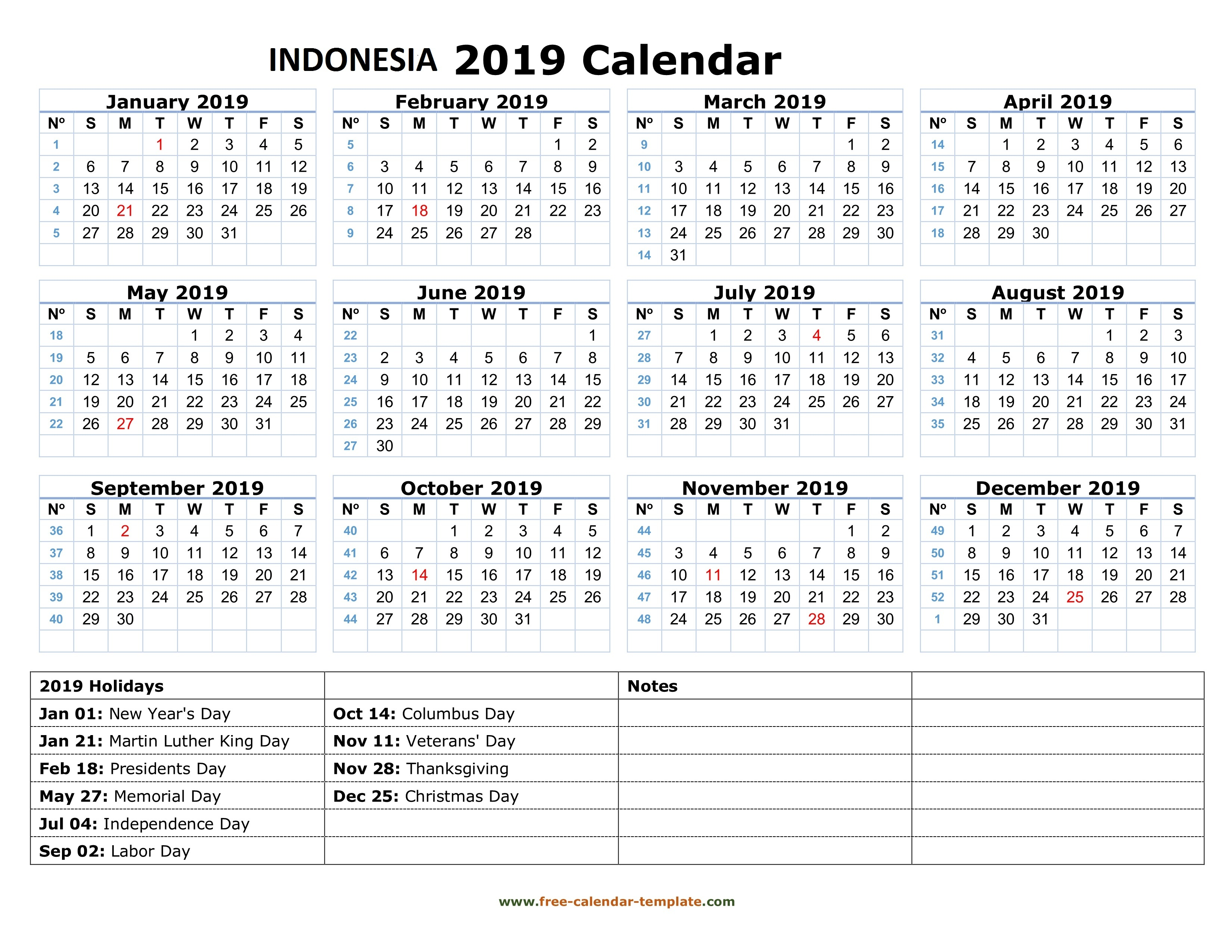 Next Year Calendar 2019 With Holidays Get Yearly Indonesia Free December