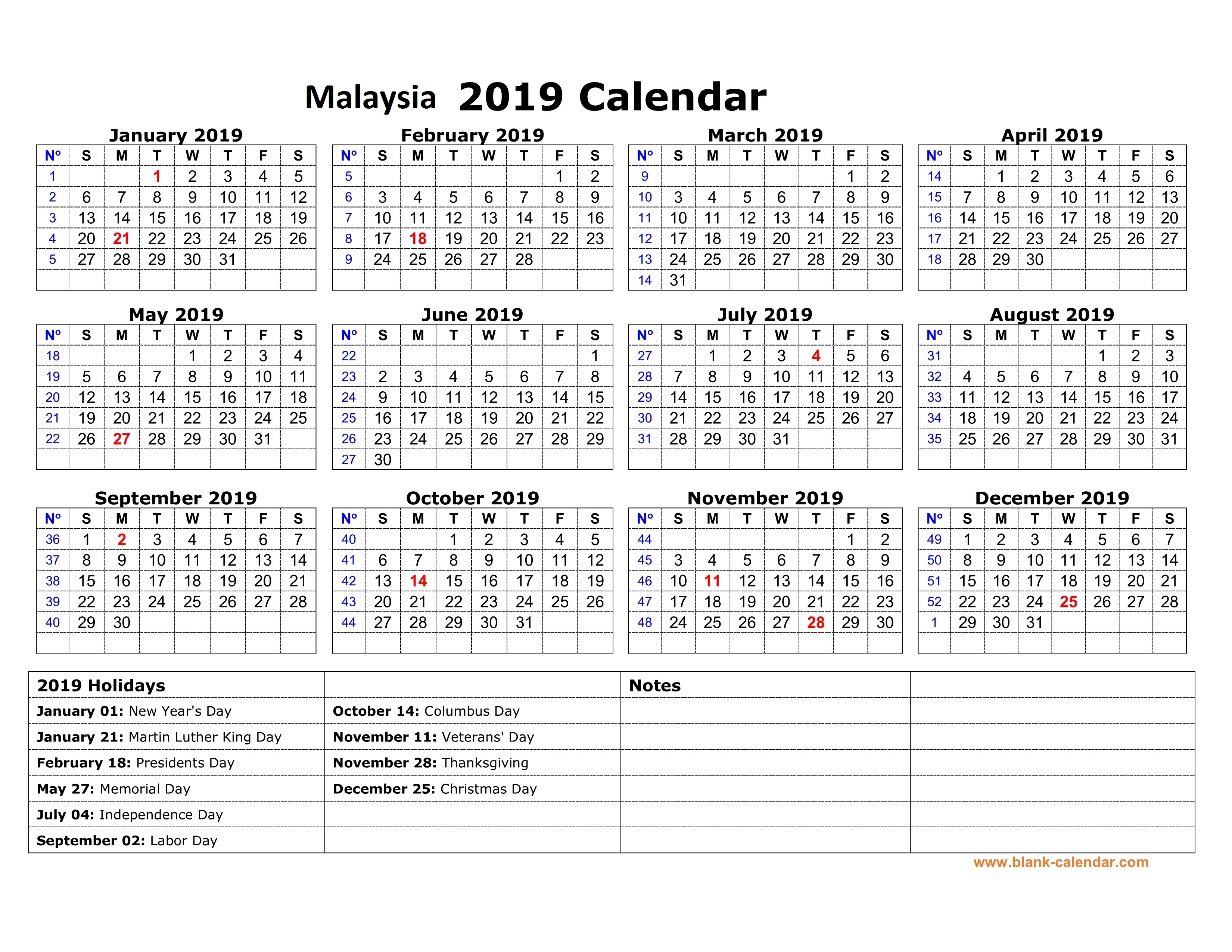 Next Year Calendar 2019 With Holidays Printable Yearly Malaysia Free Template