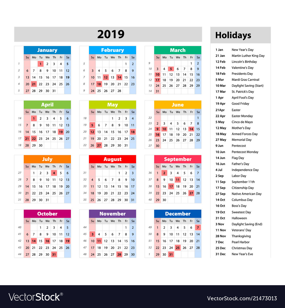 Next Year Calendar 2019 With Holidays Public For The Usa Vector Image