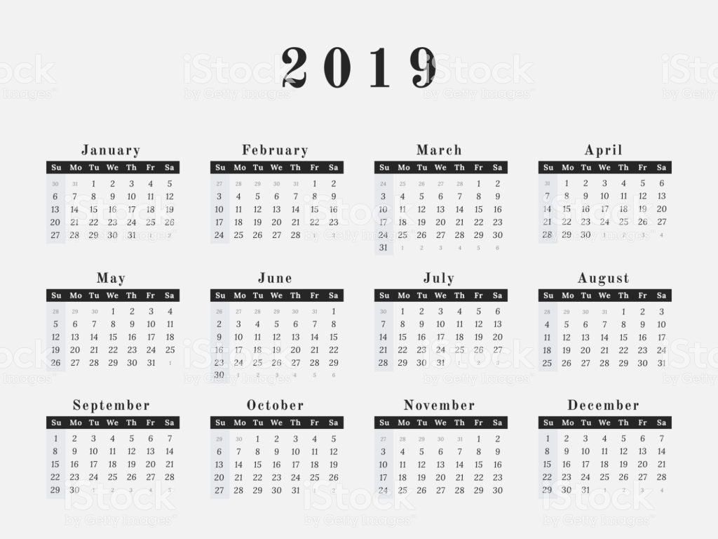 Next Year Calendar 2019 With Horizontal Design Stock Vector Art More Images