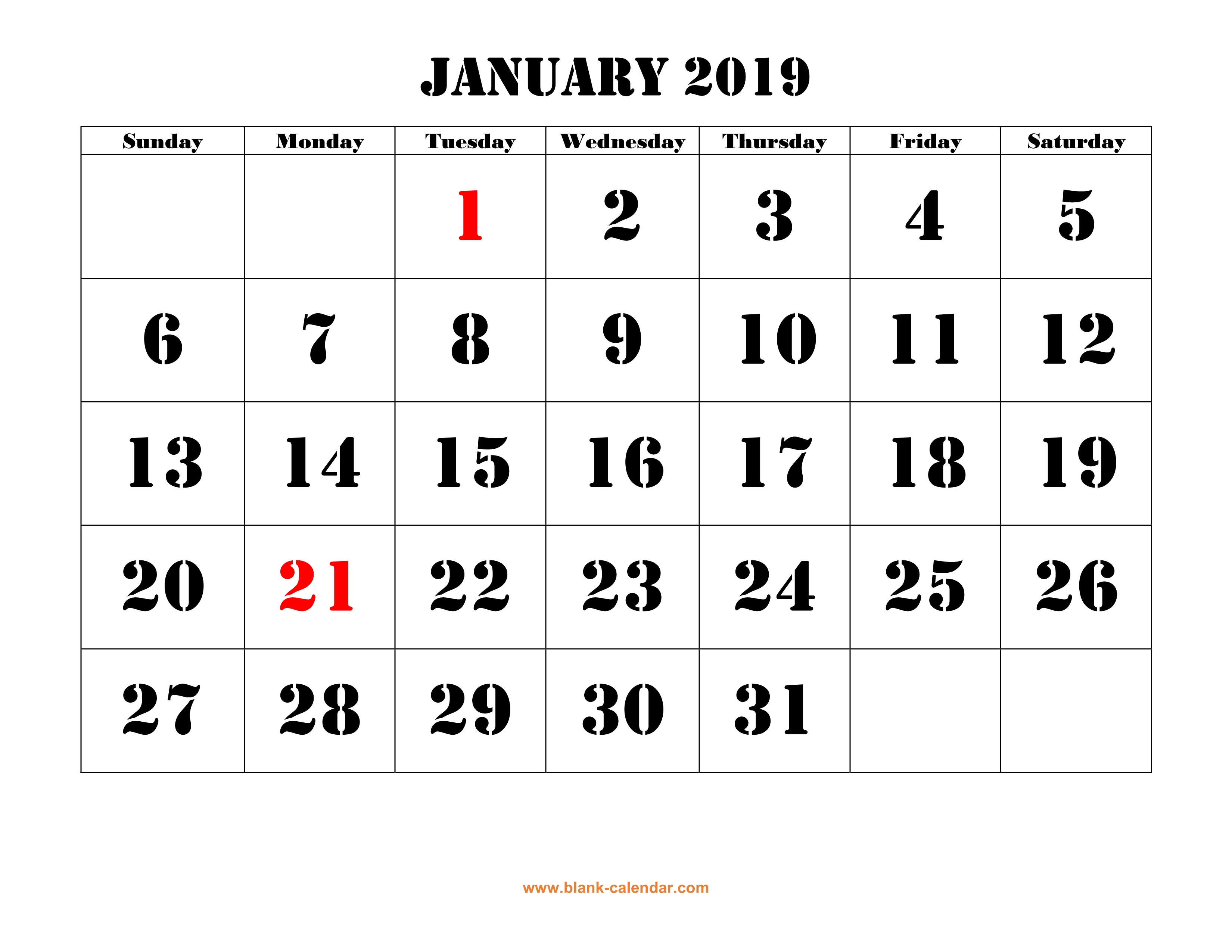 Next Year Calendar 2019 With Printable Free Download Yearly Templates