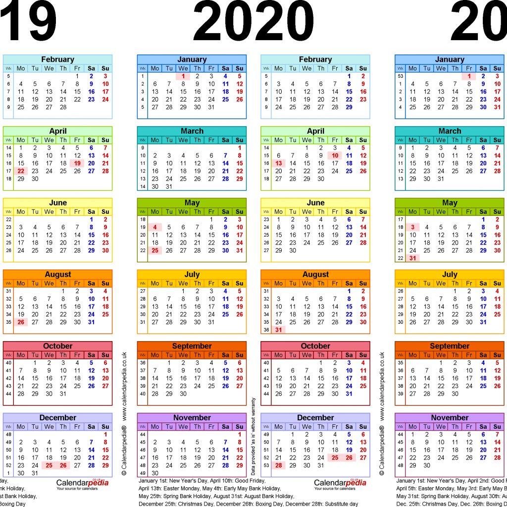 Next Year Calendar 2019 With Three Calendars For 2020 2021 UK PDF
