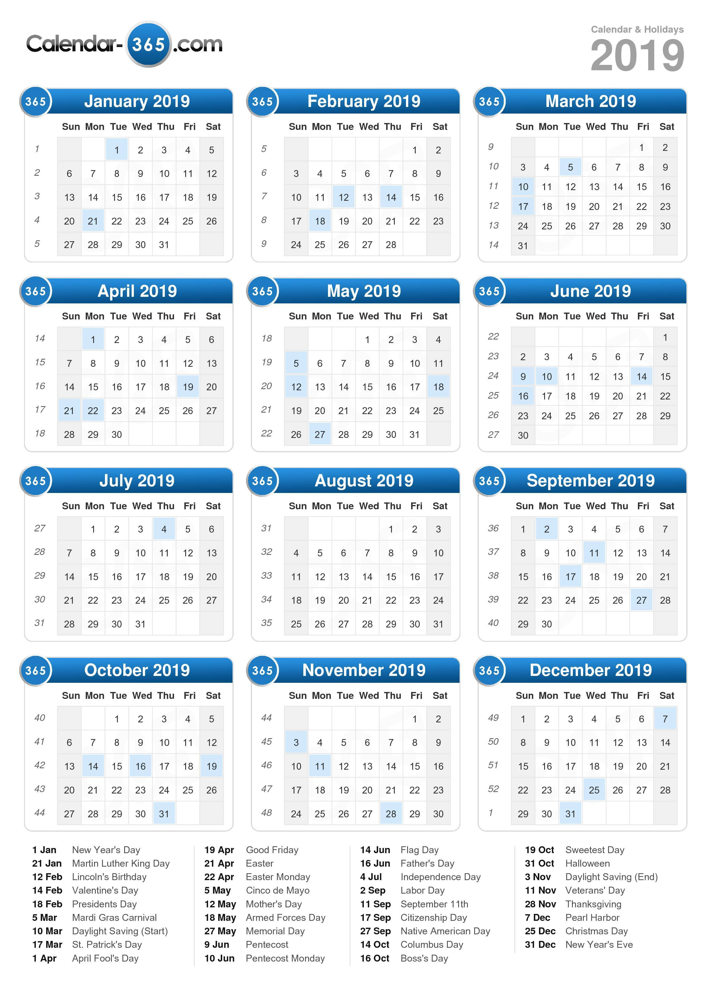 Next Year Calendar 2019 With