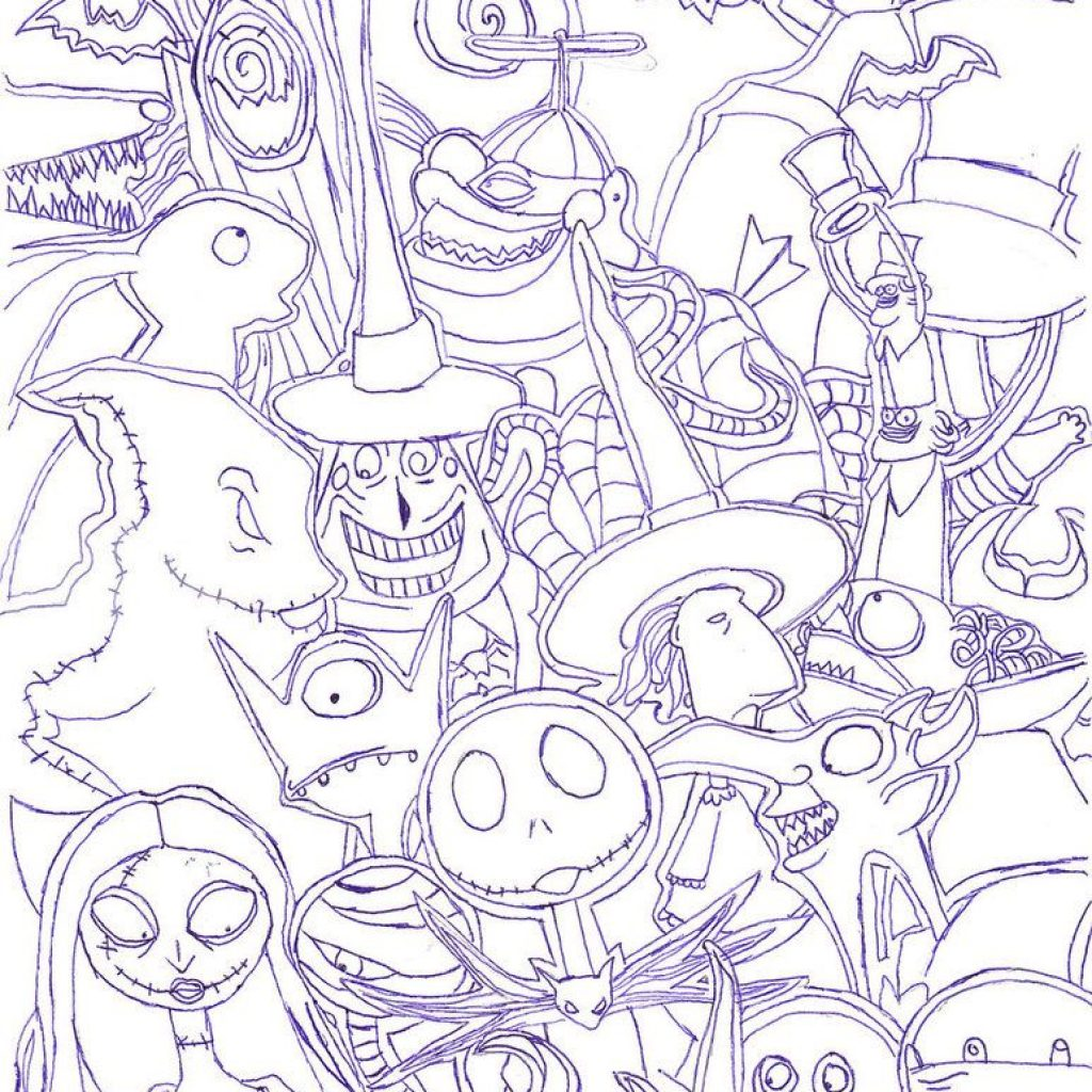 Nightmare Before Christmas Coloring Pages For Adults With The By Radiant Sunset Halloween