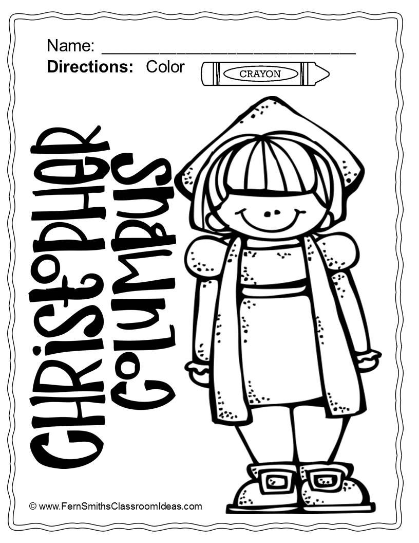 Nina Pinta Santa Maria Coloring Pages With Christopher Columbus And 4