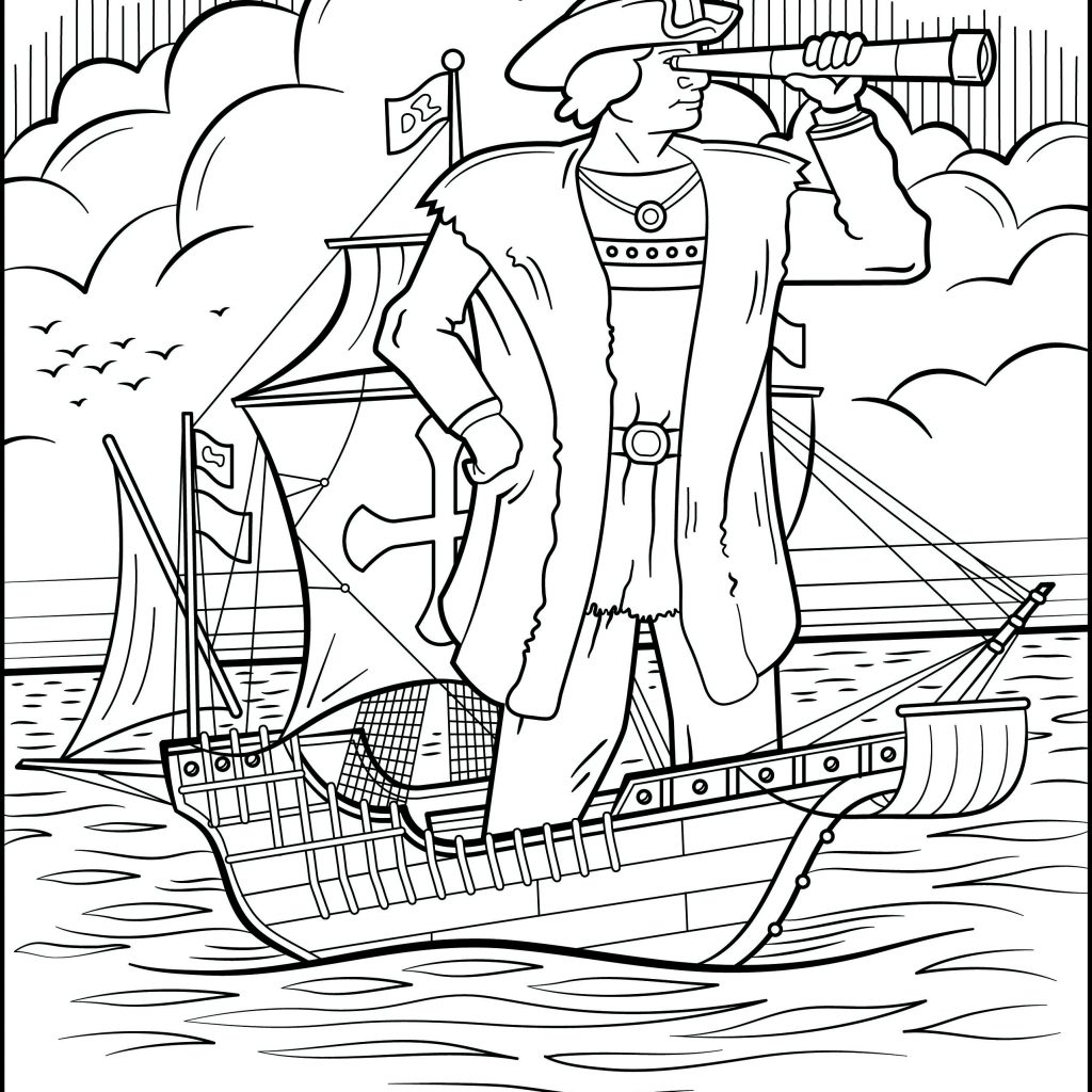 Nina Pinta Santa Maria Coloring Pages With Engage Younger Kids Columbus Day Printable
