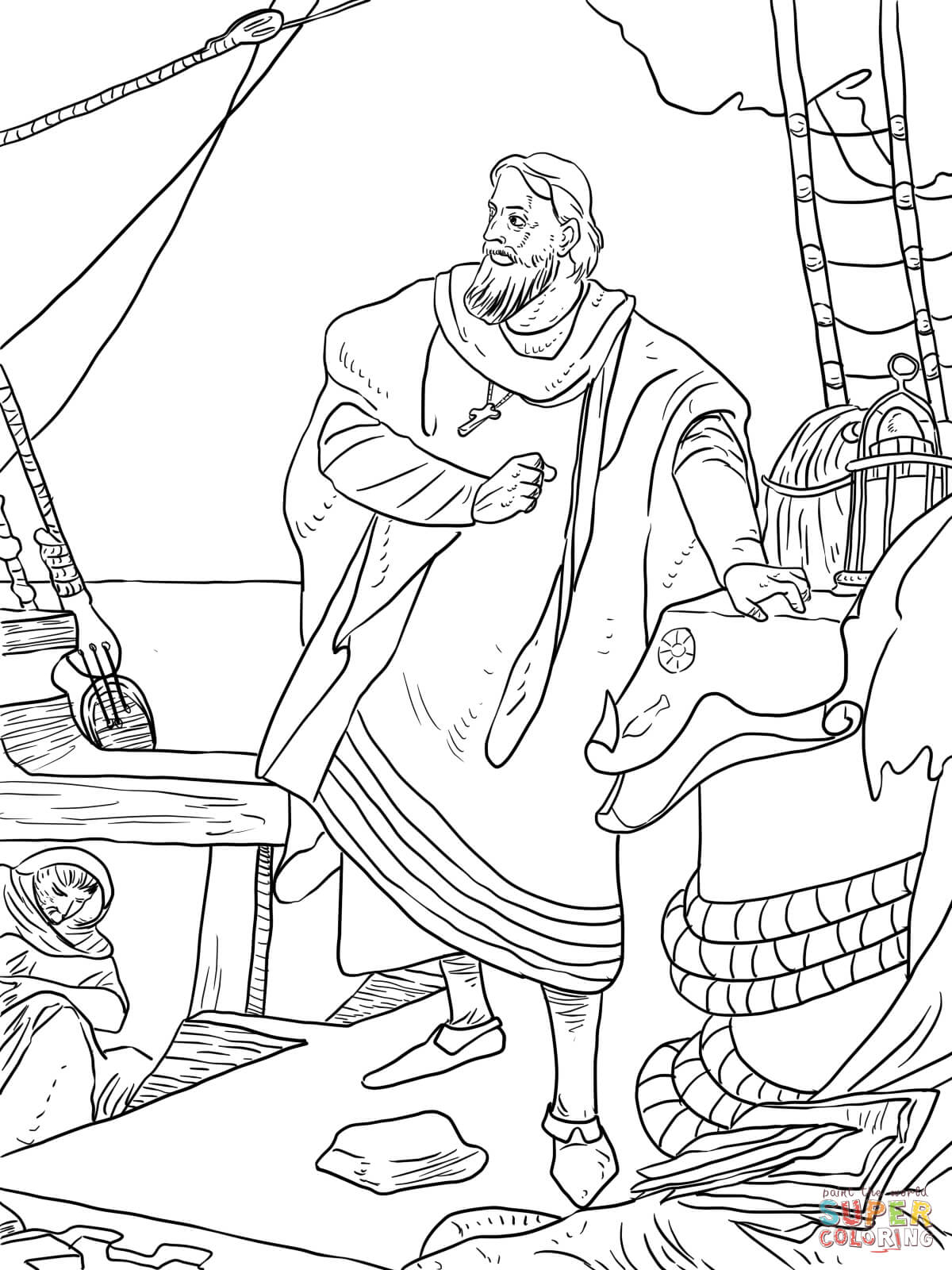 Nina Pinta Santa Maria Coloring Sheet With Christopher Columbus Pages On The