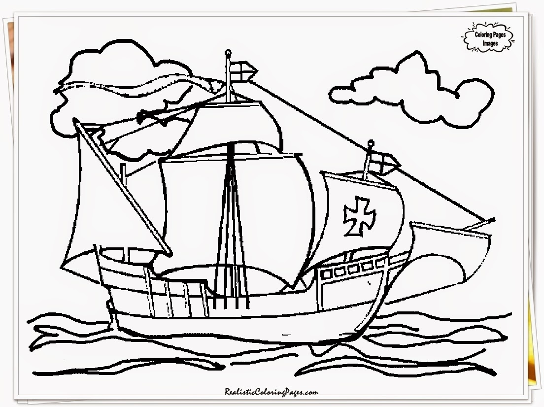 Nina Pinta Santa Maria Coloring Sheet With Pages Of Christopher Columbus Ships
