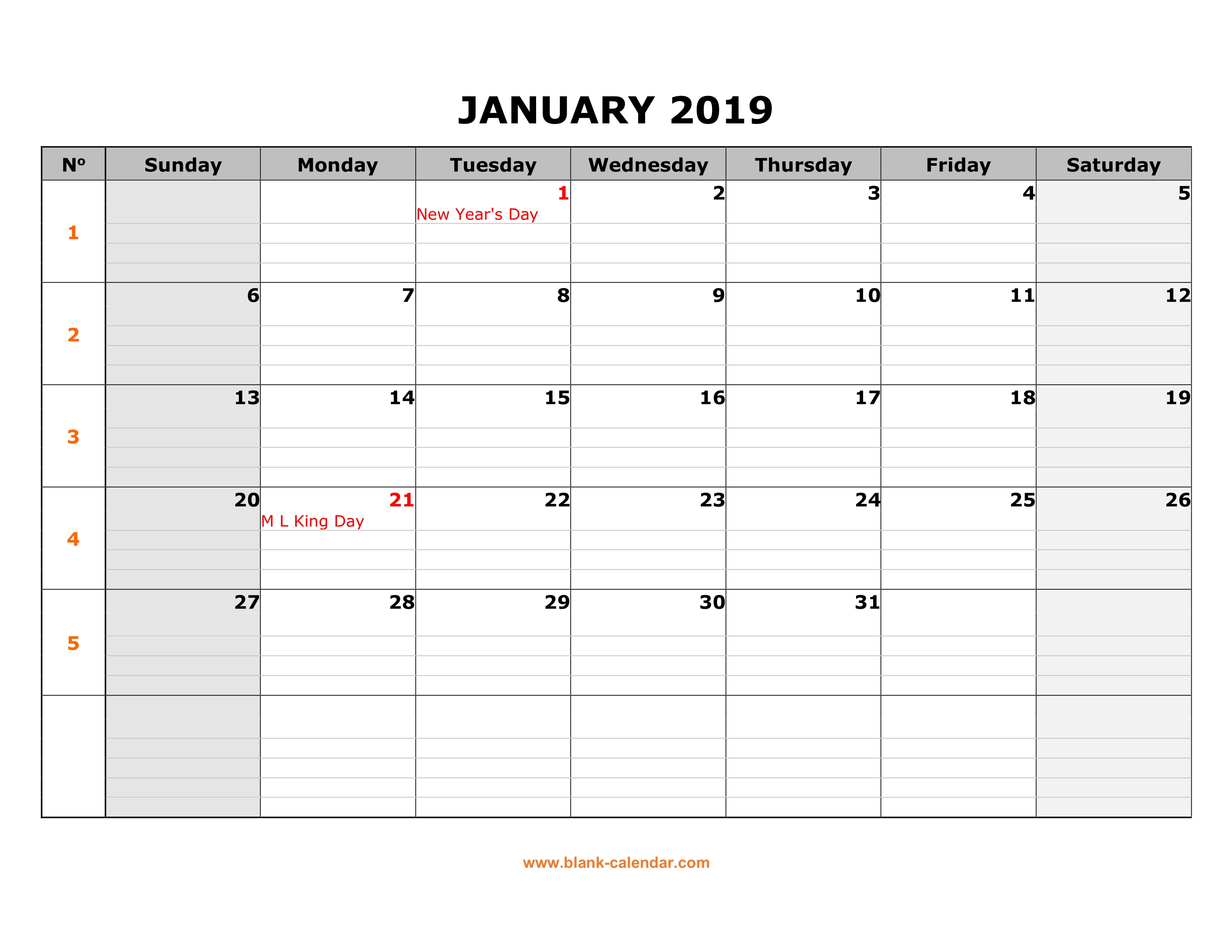 One Year Calendar 2019 Printable With Free Download Large Box Grid Space For Notes