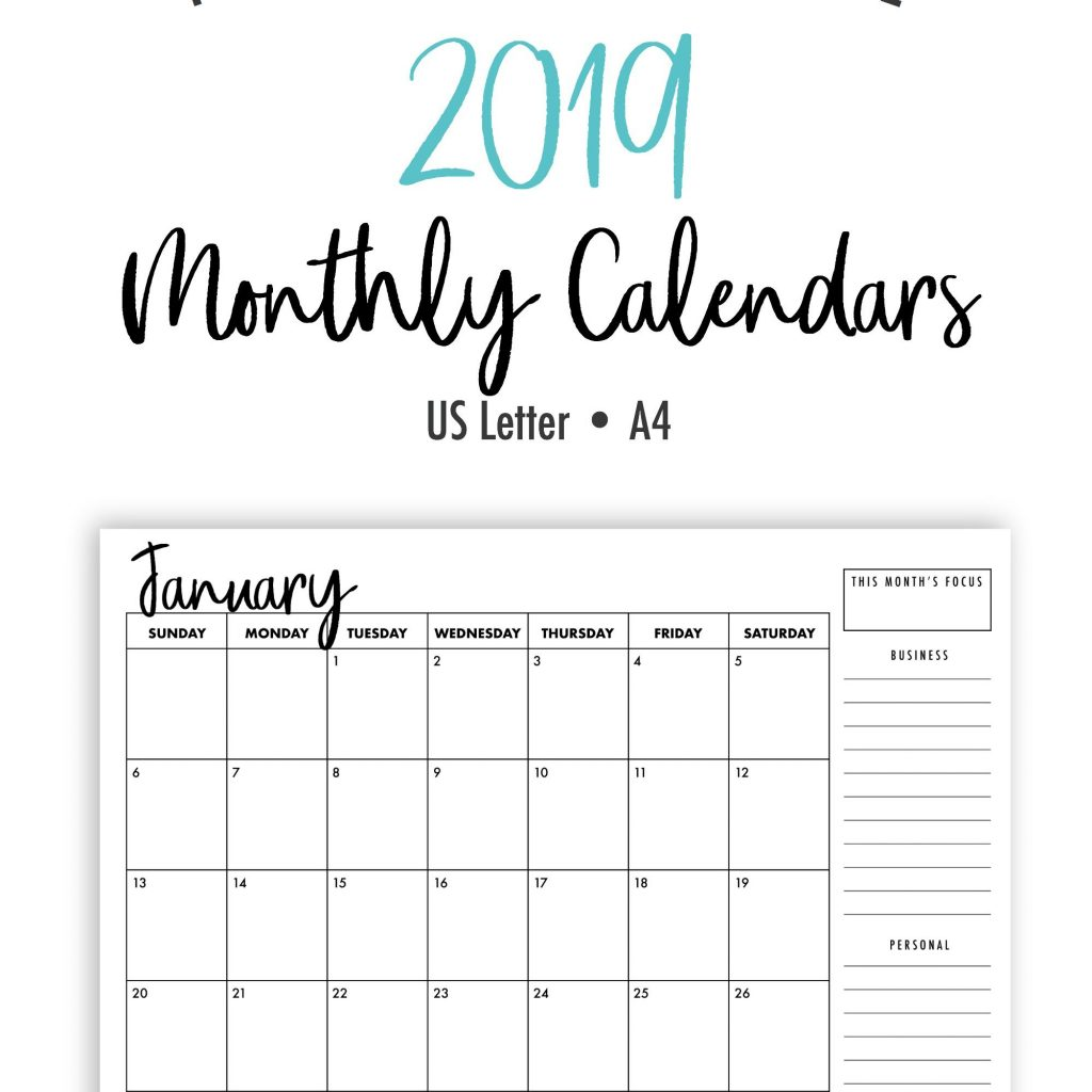 One Year Calendar 2019 Printable With Monthly Calendars Landscape US Letter A4