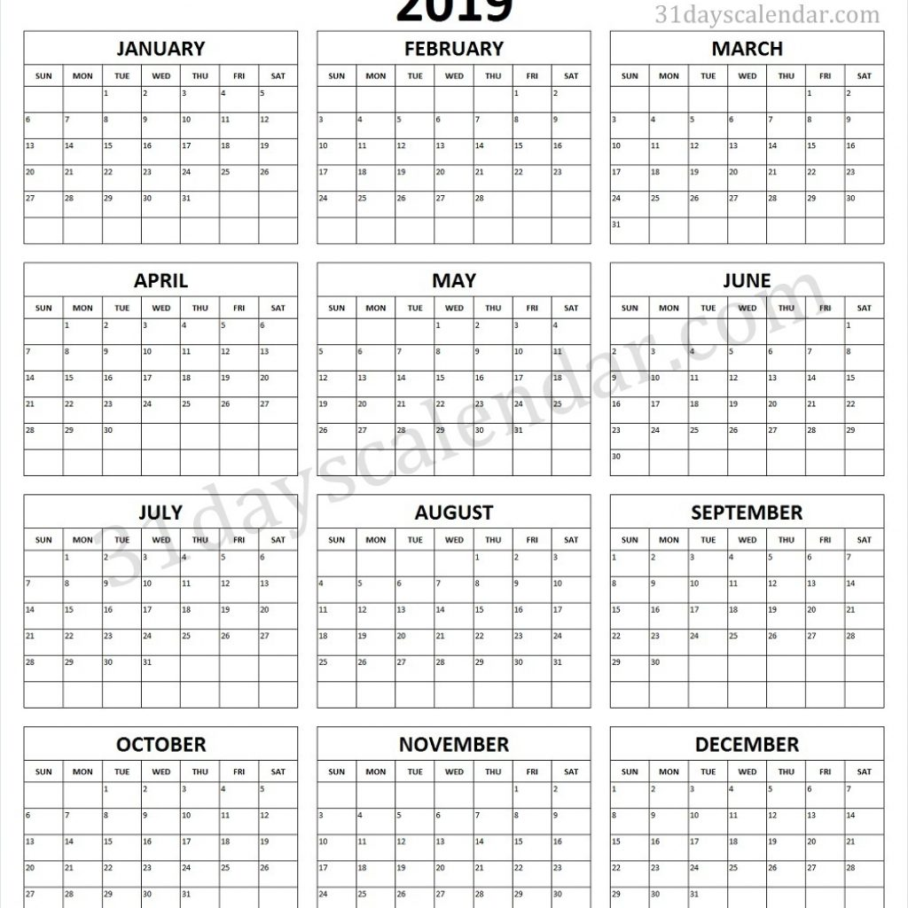 One Year Calendar 2019 Printable With Page Template