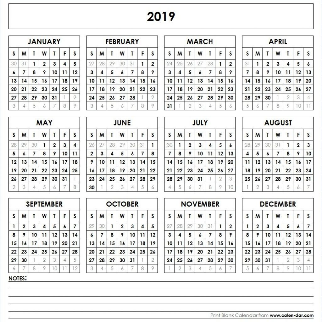 One Year Calendar 2019 Printable With Yearly Pinterest