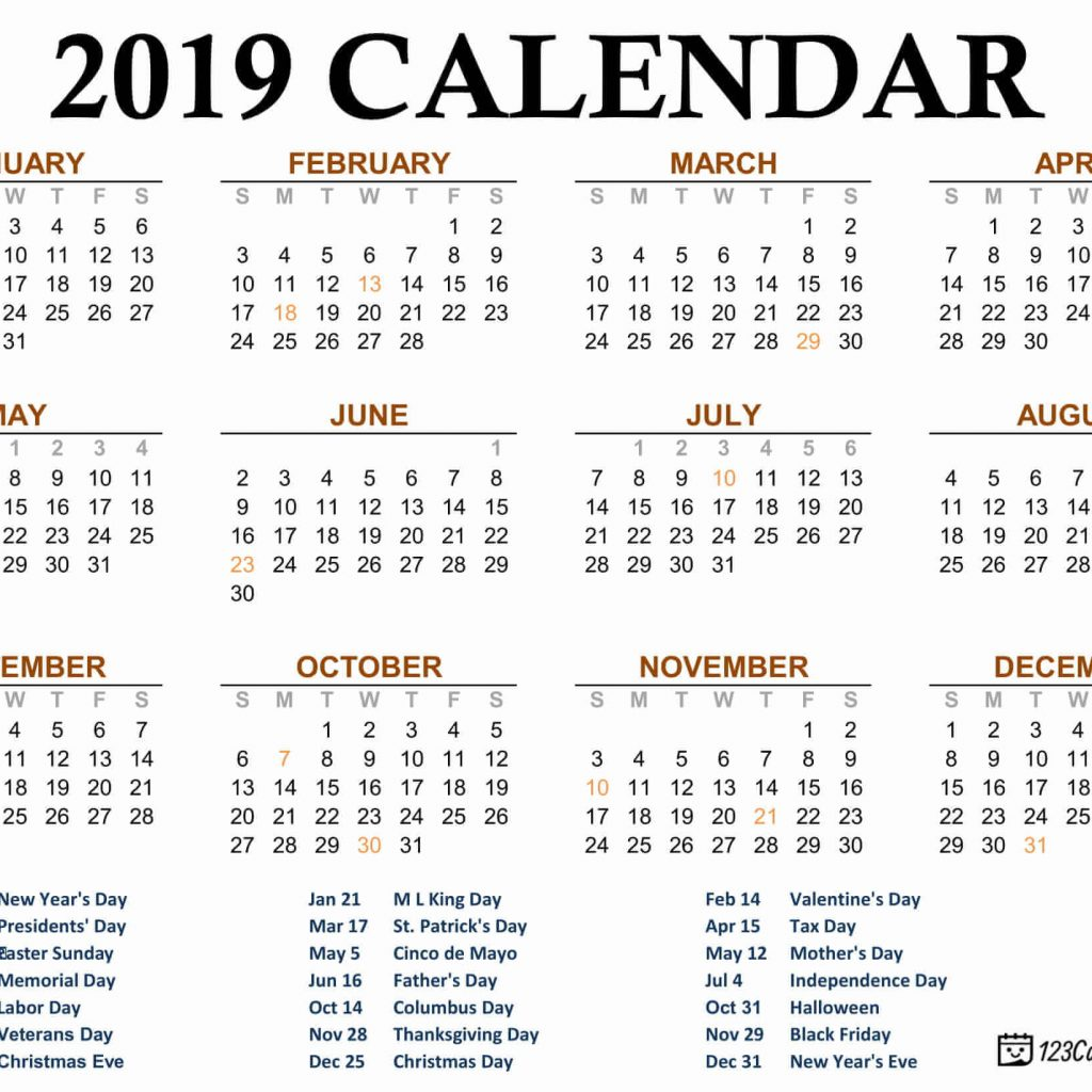 One Year Calendar 2019 With Free Download Page Printable September 2018