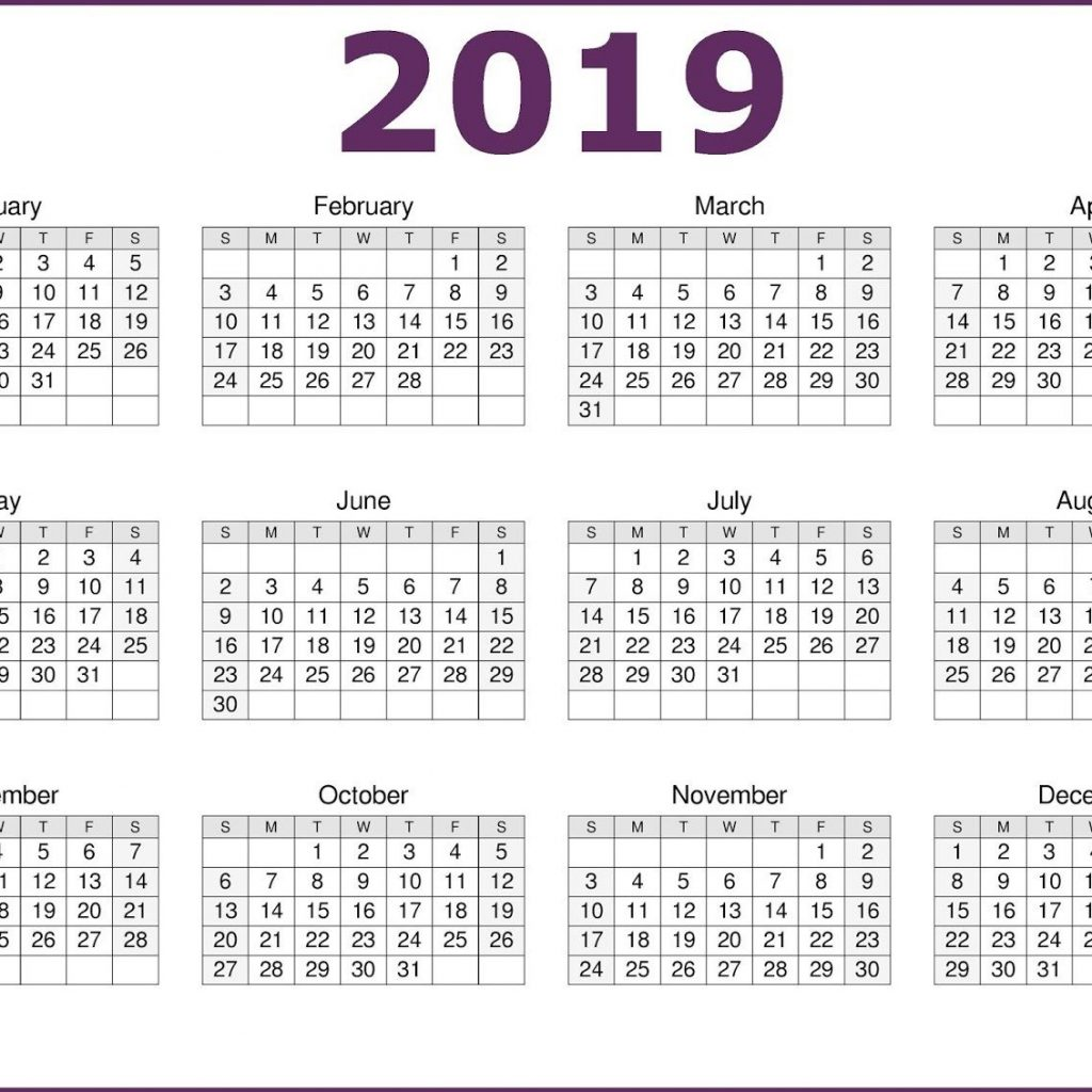 One Year Calendar 2019 With Page Printable Download CalendarBuzz