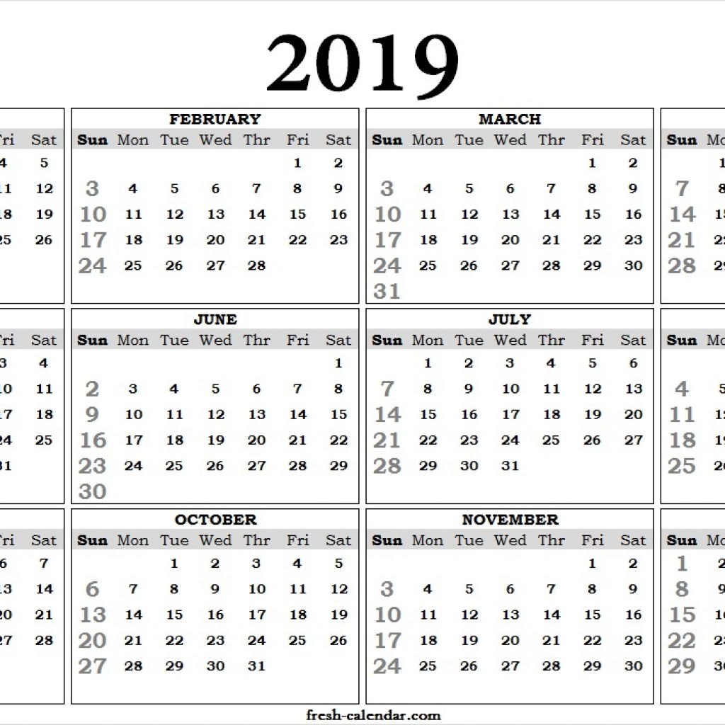 One Year Calendar 2019 With Yearly Template Printable Page Print Out