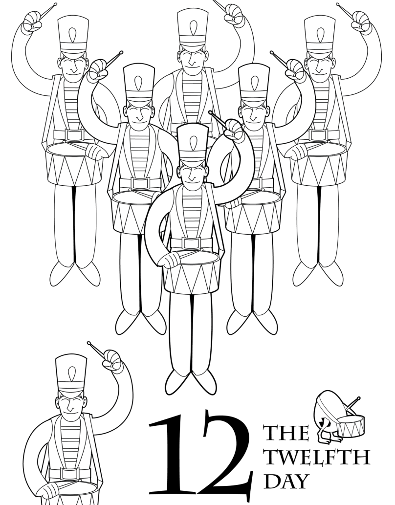 Printable 12 Days Of Christmas Coloring Pages With The Book SVG Files Pinterest
