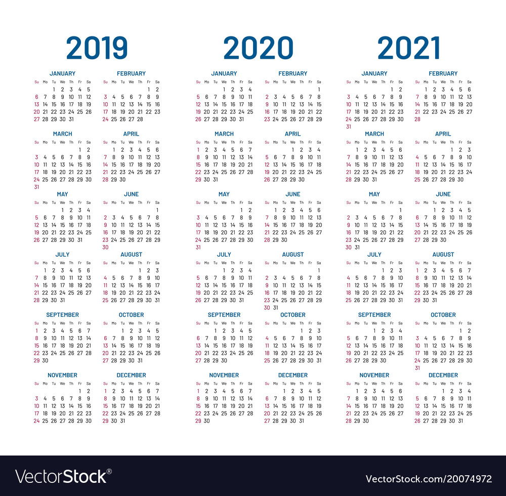 Printable 3 Year Calendar 2019 To 2021 With 2020 Royalty Free Vector Image