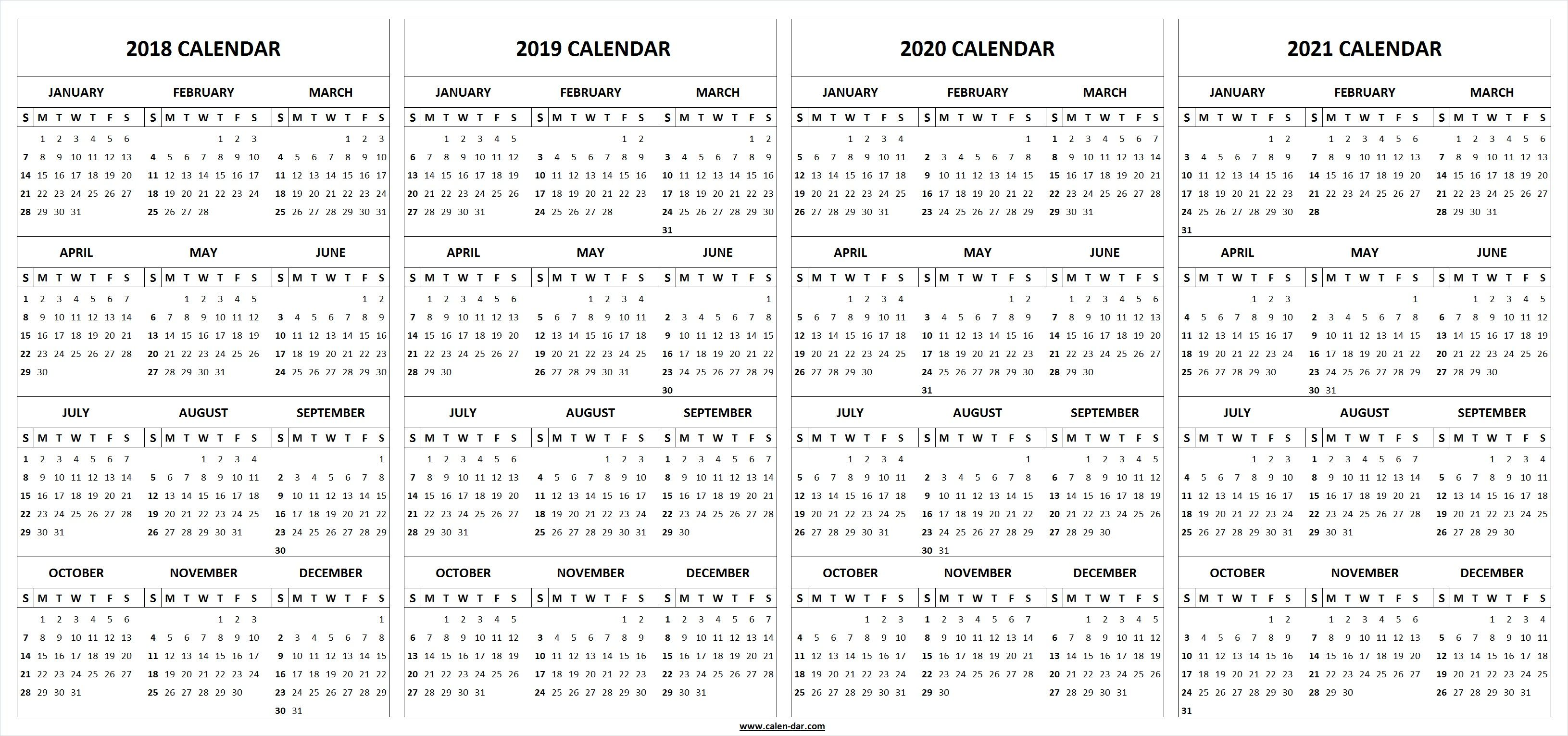 Printable 3 Year Calendar 2019 To 2021 With 4 Four 2018 2020 Template