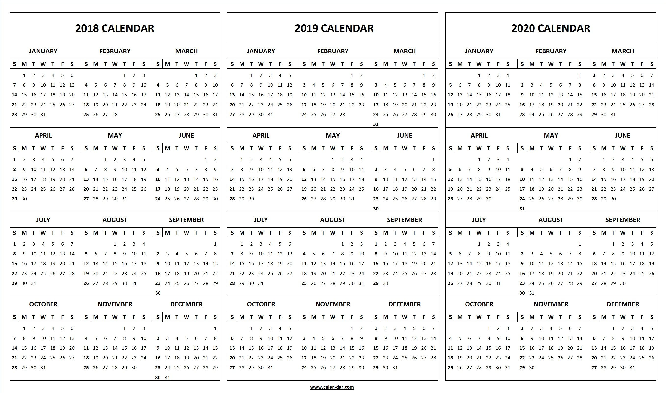 Printable 3 Year Calendar 2019 To 2021 With Print Blank 2018 2020 Template Organize Pinterest