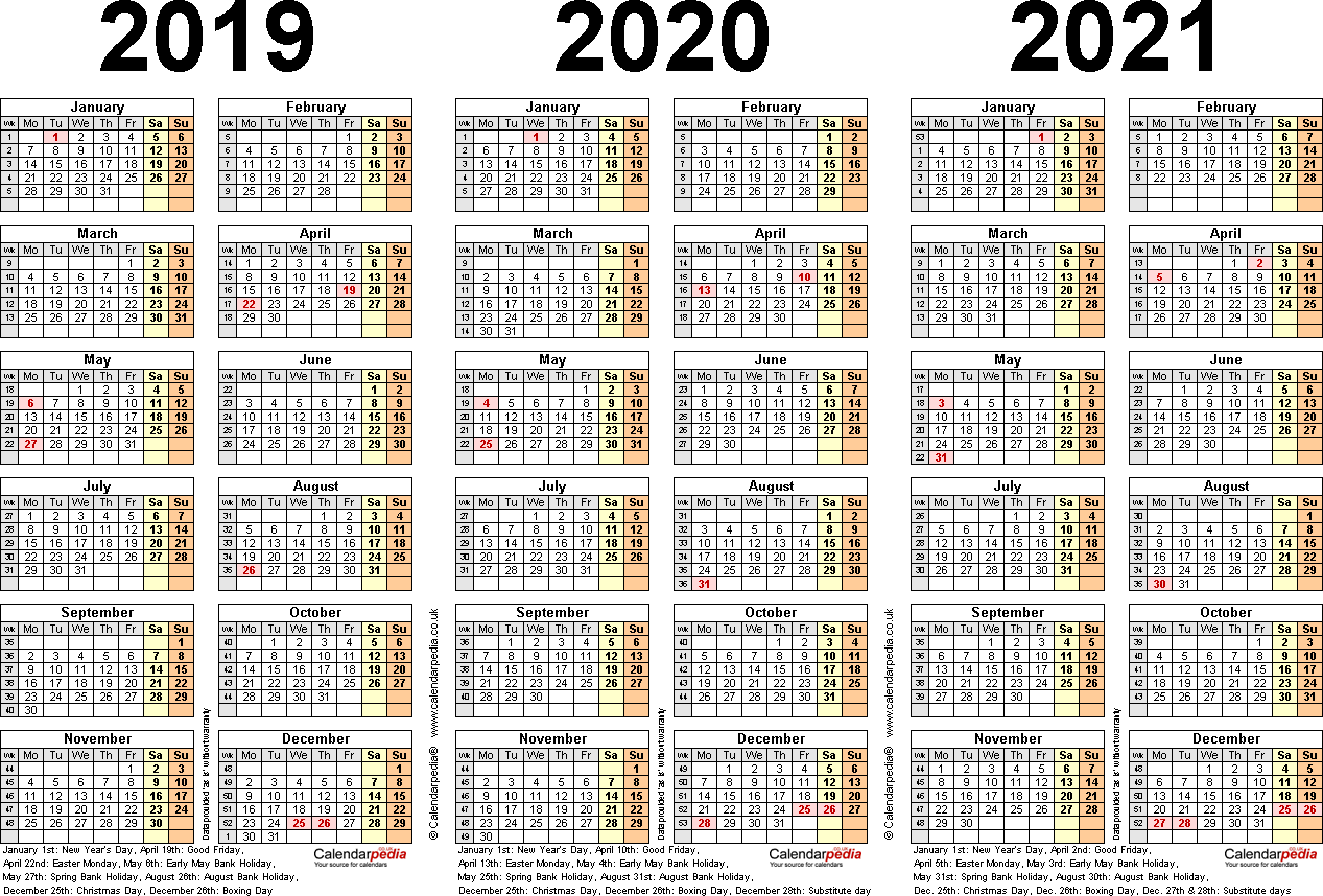Printable 3 Year Calendar 2019 To 2021 With Three Calendars For 2020 UK PDF