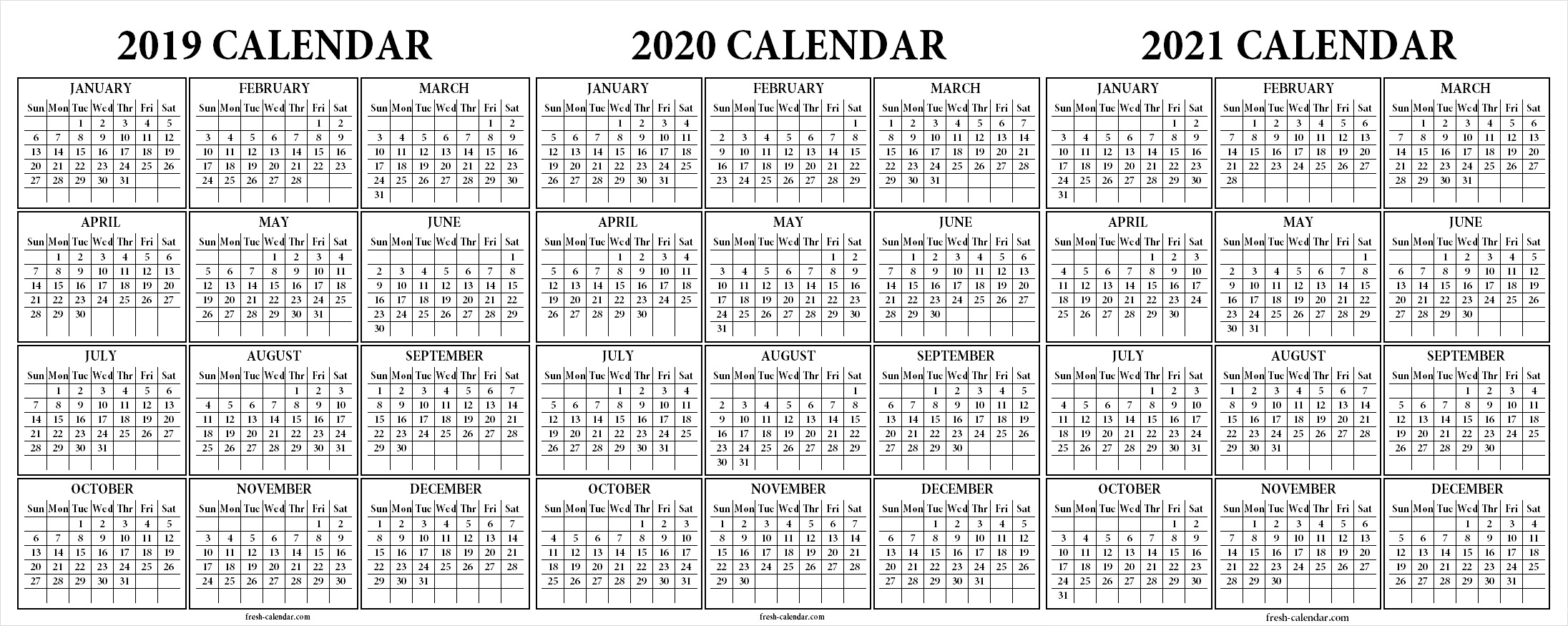Printable 3 Year Calendar 2019 To 2021 With Three Yearly 2020 Free Blank Template