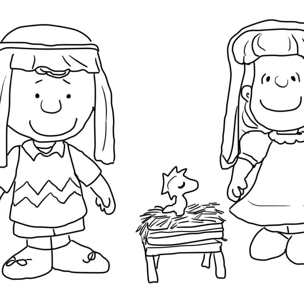 Printable Charlie Brown Christmas Coloring Pages With Nativity Super