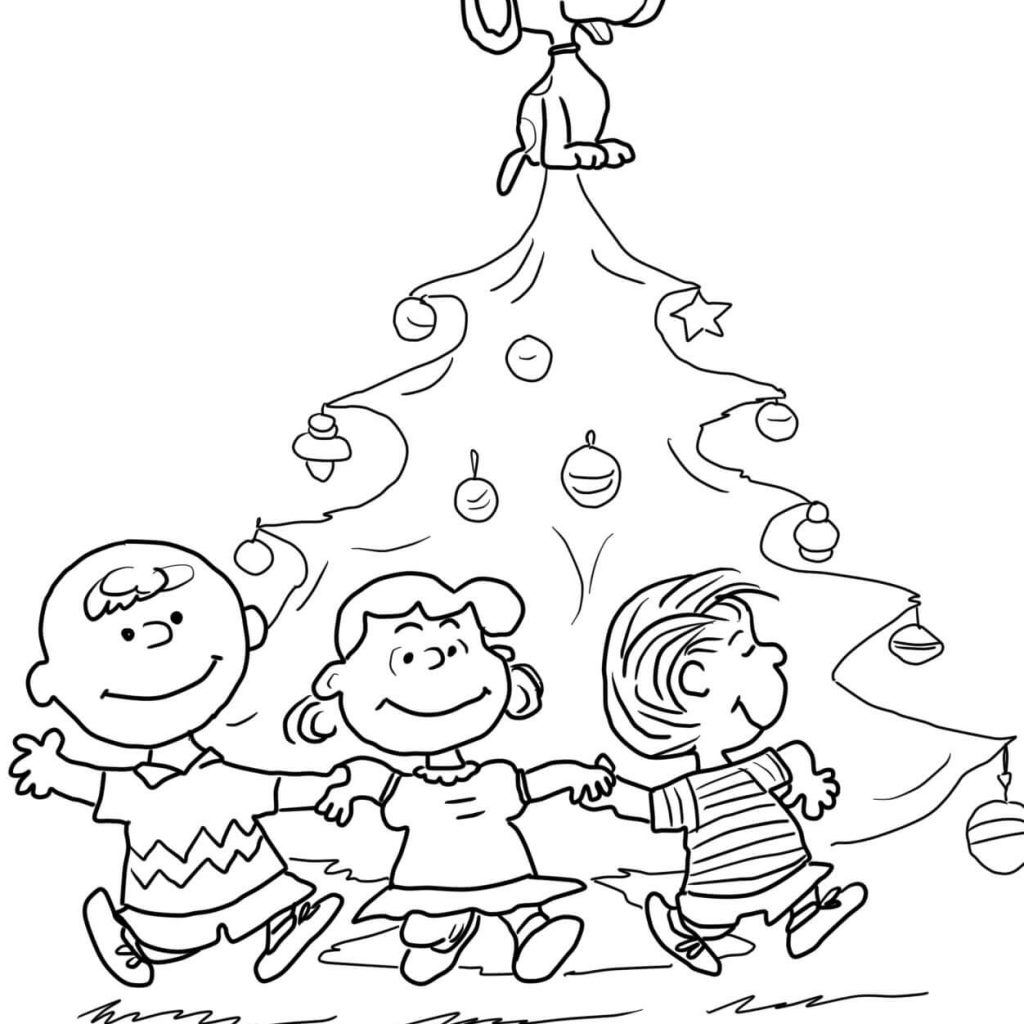 Printable Charlie Brown Christmas Coloring Pages With Tree Page Free