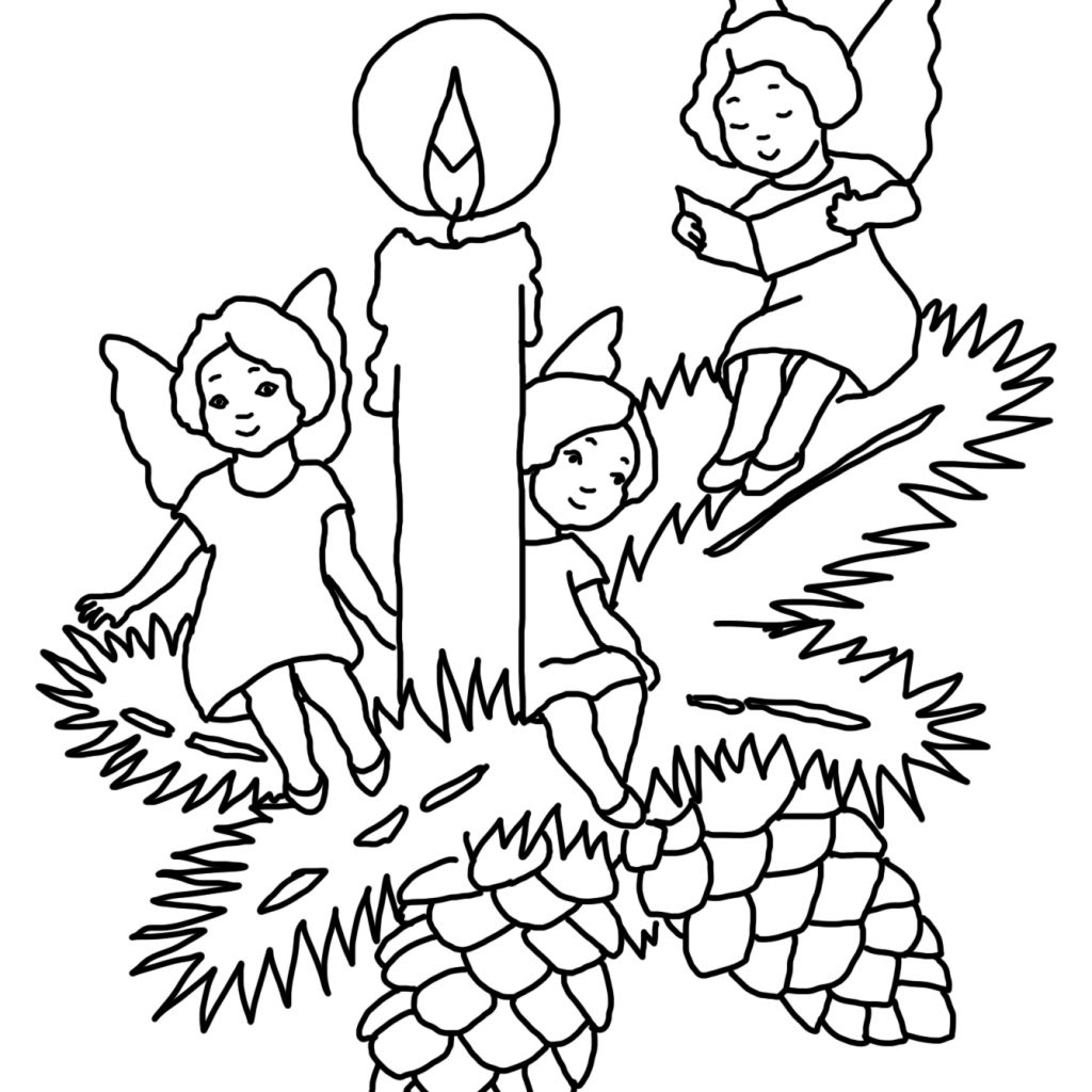 Printable Christmas Candles Coloring Pages With