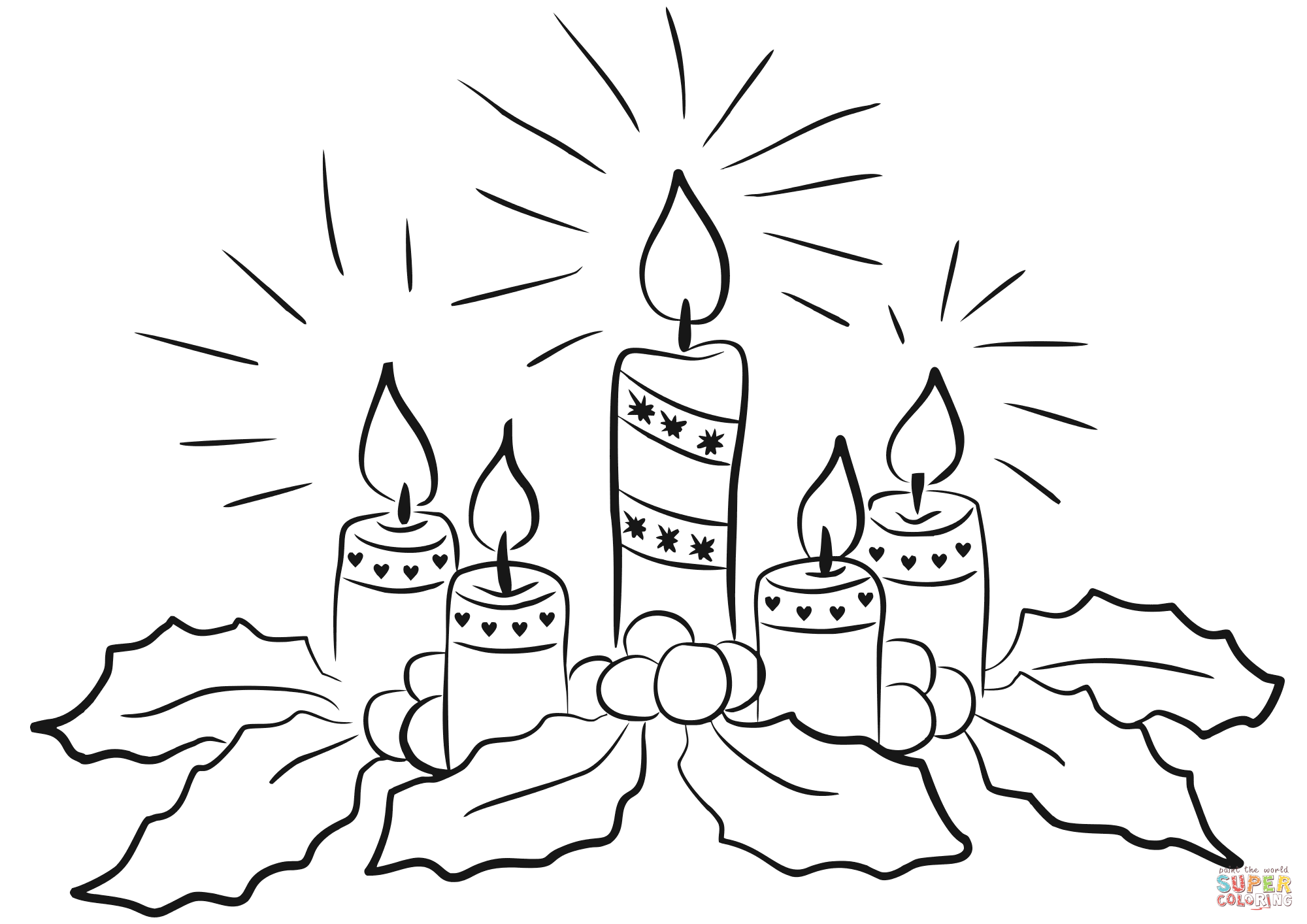 Printable Christmas Candles Coloring Pages With Advent Page Free