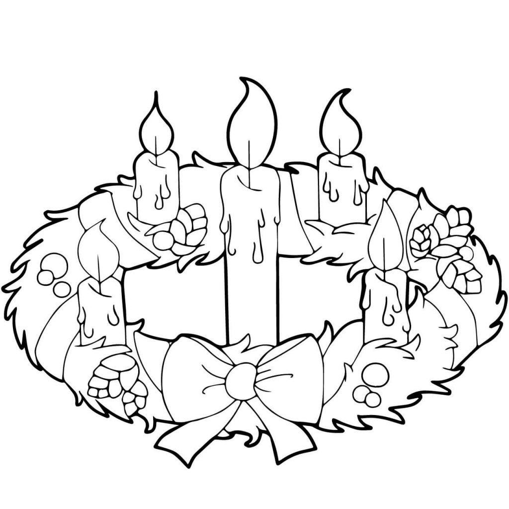 Printable Christmas Candles Coloring Pages With Advent Wreath And Page Free