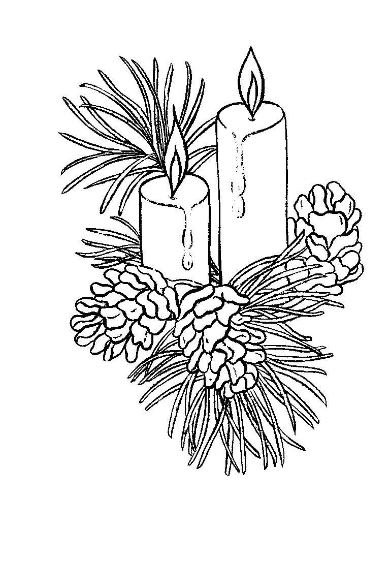 Printable Christmas Candles Coloring Pages With Beautiful Page Free