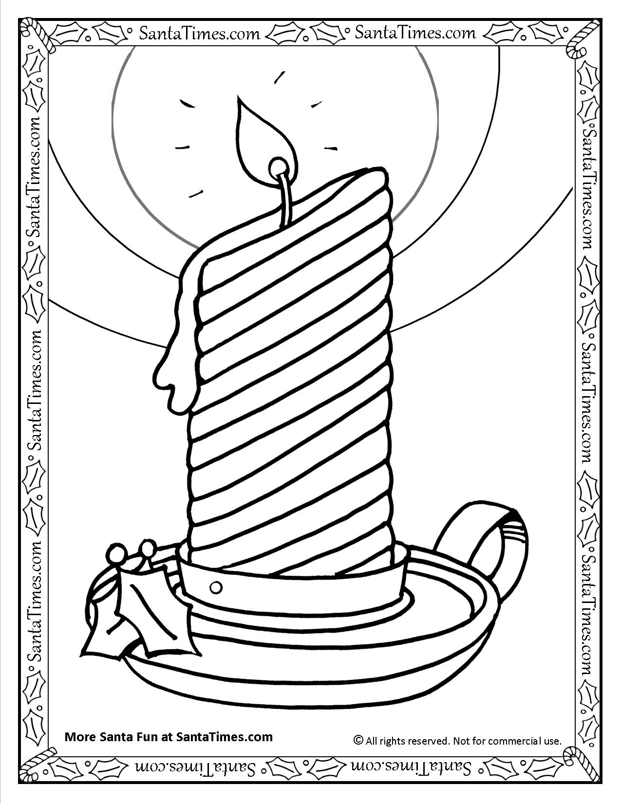Printable Christmas Candles Coloring Pages With Holiday Candle Page