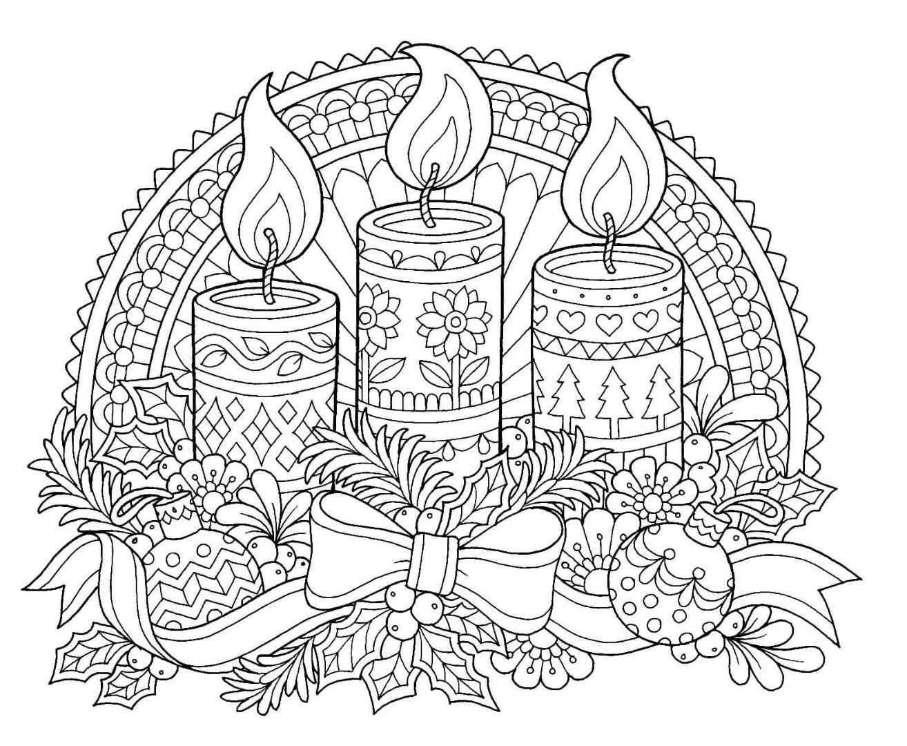 Printable Christmas Candles Coloring Pages With Page Color Pinterest