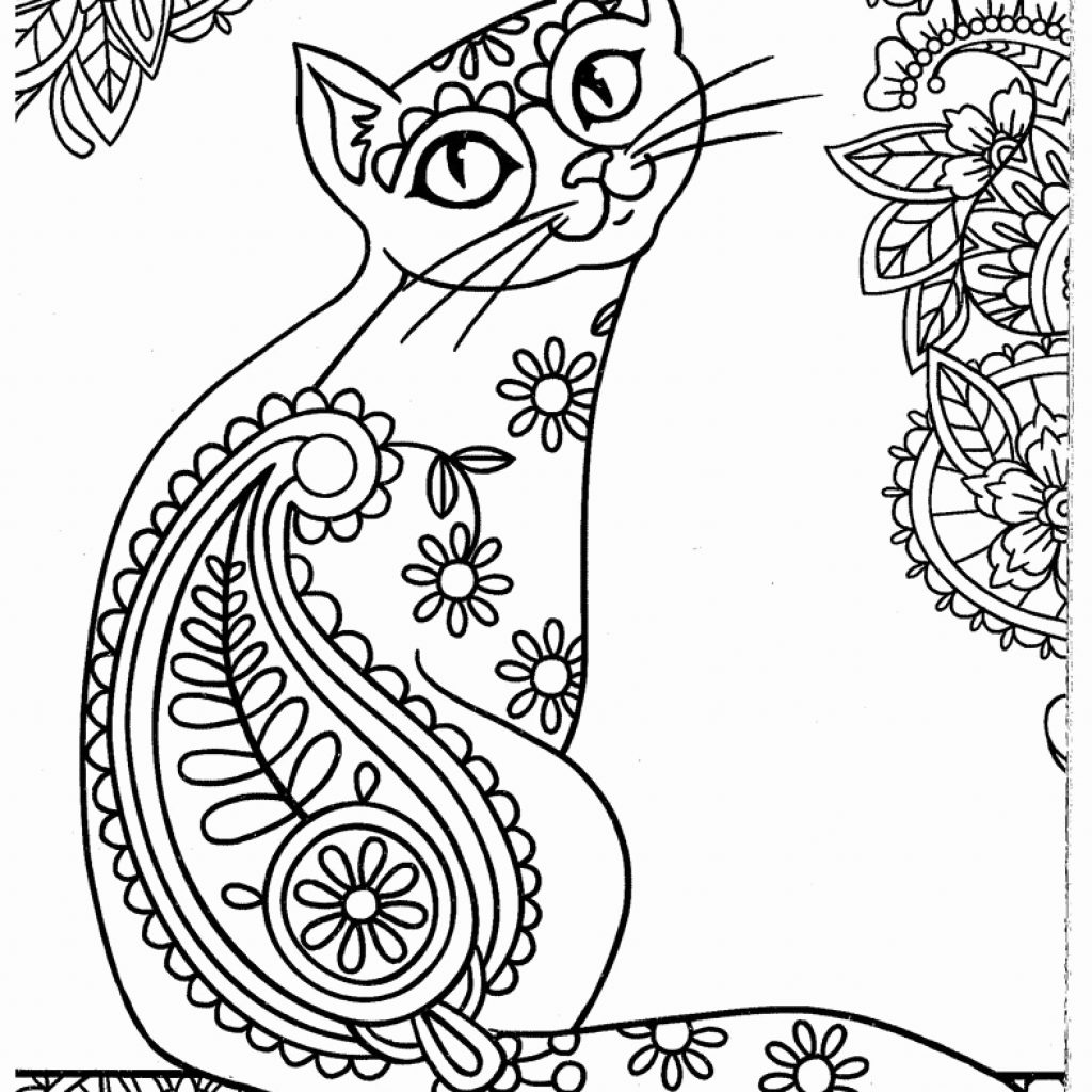 Printable Christmas Cat Coloring Pages With Free Dog
