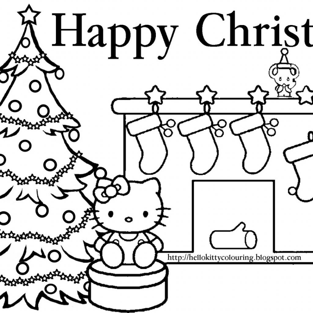 Printable Christmas Cat Coloring Pages With Hello Kitty
