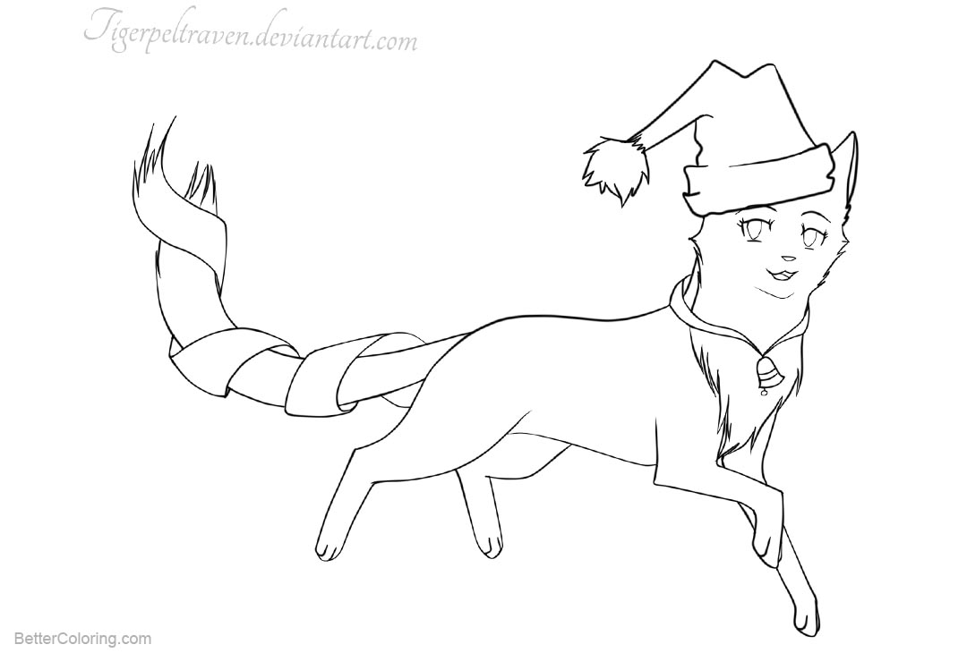 Printable Christmas Cat Coloring Pages With In The Hat By Tigerpeltraven Free